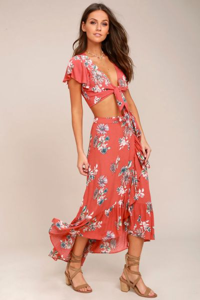 Rusty Rose Floral Print Two Piece Dress
